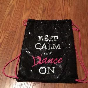 Black Sequin Drawstring Dance Bag